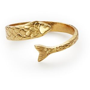 NWT Alex and Ani fish wrap ring gold adjustable
